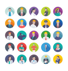 Collection of professional flat icons of professi vector