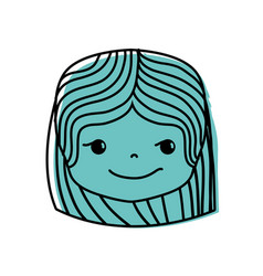 Color girl head with hairstyle and rogue face vector