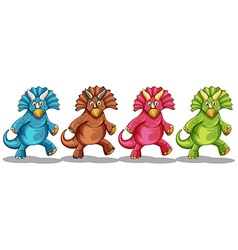 Dinosaurs in four different colors vector