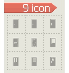 door icon set vector image vector image