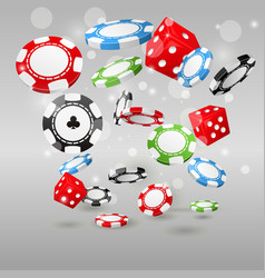 Gambling and casino symbols - flying poker chips vector