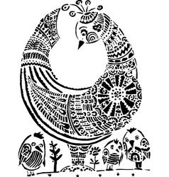 Hen with chicken Ukrainian folk traditional vector image