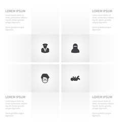 icon person set of woman agent played and other vector image vector image