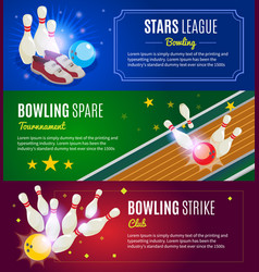 Isometric colorful bowling horizontal banners vector