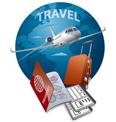 jet passport and luggage vector image vector image