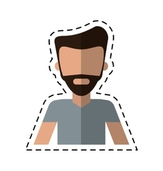 Man bearded casual fashion lifestyle cutting line vector