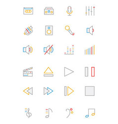 Music colored outline icons 1 vector