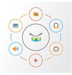 Music flat icons set collection of audio band vector
