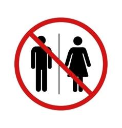No toilet forbidden sign on white vector