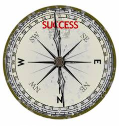 Old compass course to success vector