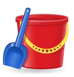 Plastic bucket and shovel 01 vector