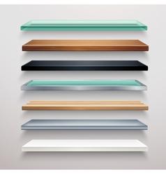 Realistic shelves set vector