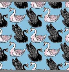 Seamless pin-up pattern with black and white swan vector