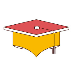 Silhouette color sections of graduation cap vector