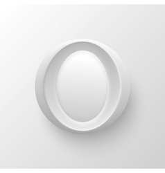 White plastic letter round button vector image