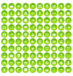 100 autumn holidays icons set green circle vector image vector image