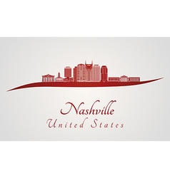 Nashville skyline in red vector