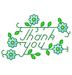 Thank you lettering composition with flowers vector
