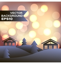 Landscape of winter night with houses and firs vector