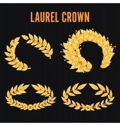 Laurel Crown Set Greek Wreath With Golden Leaves vector image