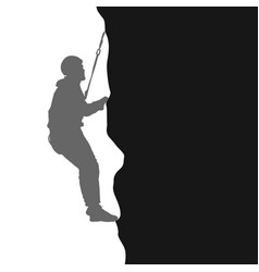 Black silhouette rock climber on white background vector