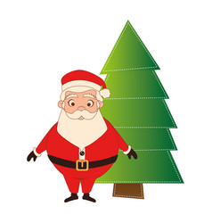 color silhouette with santa claus and christmas vector image