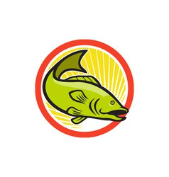 Largemouth Bass Jumping Cartoon Circle vector image