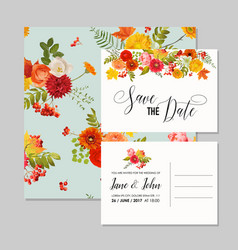 Floral wedding invitation card template set vector