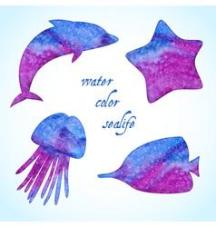 Watercolor sealife silhouettes set vector image