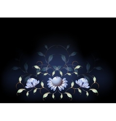 Fantastic blue flowers on a black base eps10 vector