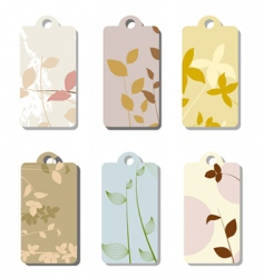 Floral tag set vector