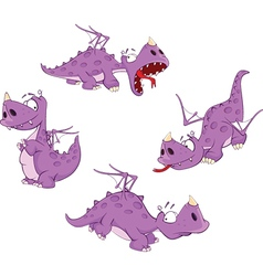 Set of cute violet dragon for you design cartoon vector