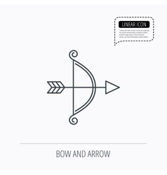 Bow with arrow icon valentine weapon sign vector