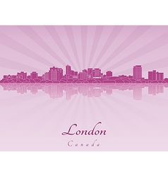 London skyline in purple radiant orchid vector