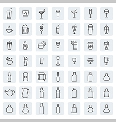 Drink icon set in thin line style vector