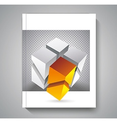 Brochure template design with 3d cubes elements vector