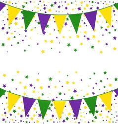Mardi gras bunting background with confetti stars vector