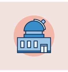 Observatory building flat icon vector