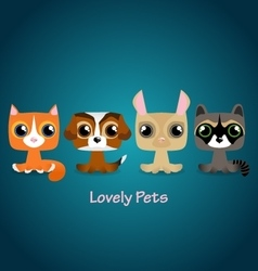 Cute funny lovely pets vector