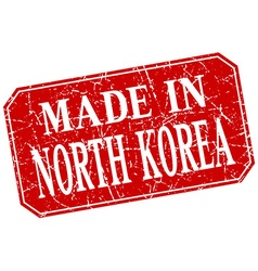 Made in north korea red square grunge stamp vector