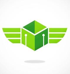 Abstract cube wing box logo vector