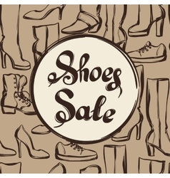 Background with lettering sale shoes Hand drawn vector image vector image