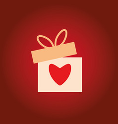 beautiful greeting box with heart for gift vector image