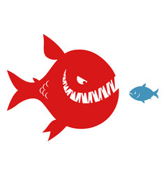 Big evil fish and small fish vector