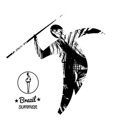 Brazil summer sport card with an abstract spear th vector