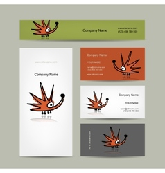 Business cards design with funny hedgehog vector image vector image