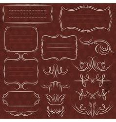Calligraphy decorative borders ornamental rules vector image