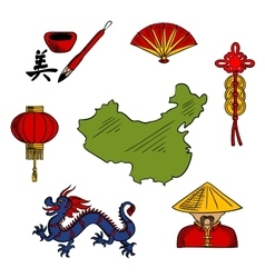 Chinese culture and religion sketched icons vector