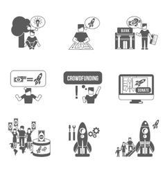 Crowdfunding icons set vector