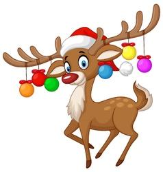 Deer with Christmas ball vector image